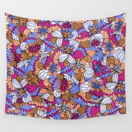 Rustic Swirly Flowers Wall Tapestry