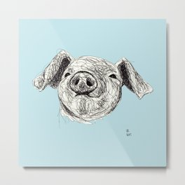 Baby Animals - Pig (Blue) Metal Print
