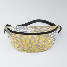 Modern Elegant Chic Floral Pattern, Soft Yellow, Gray, White Fanny Pack