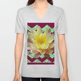 Yellow Water Lily Burgundy Modern art Unisex V-Neck