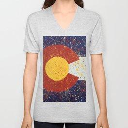 Splatter Colorado Flag Art Unisex V-Neck