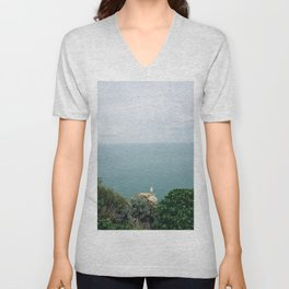 Seagull sitting on the rock in Etretat, Normandy, France - Travel Photography fine art wall print Unisex V-Neck