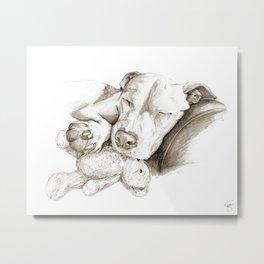 Let Sleeping Dogs Lie :: Sepia Metal Print