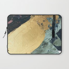 Supernova: an abstract mixed media piece in gold with blues, greens, and a hint of pink Laptop Sleeve