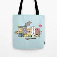brussels Tote Bags featuring Brussels buildings by zldrawings