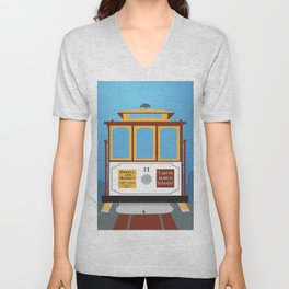 San Francisco, California - Skyline Illustration by Loose Petals Unisex V-Neck