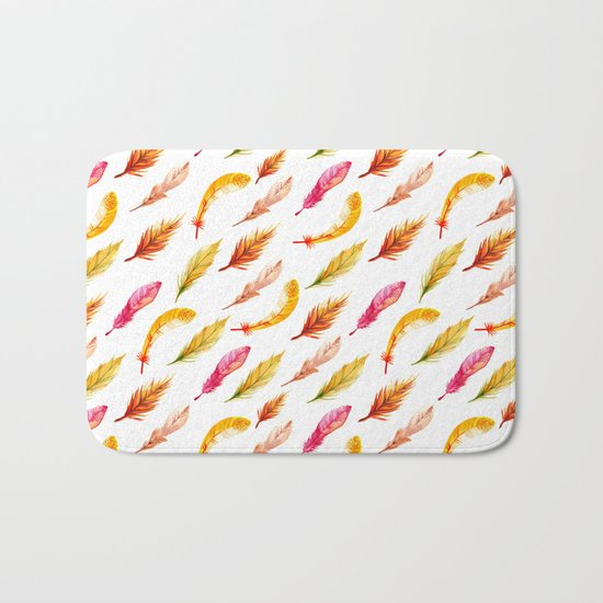colorful feather pattern Bath Mat