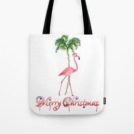 Merry Christmas Pink Flamingo Beach Xmas Tote Bag