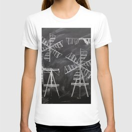 steampunk western country chalkboard art agriculture farm windmill patent print T-shirt