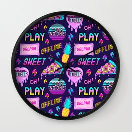 Colorful seamless pattern with patches: pineapples, pizza slices, hearts, etc #2 Wall Clock
