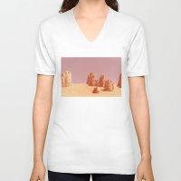 desert V-neck T-shirts featuring Desert by CaptClare