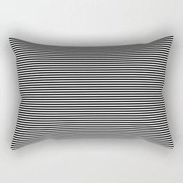 Midnight Black and White Horizontal Beach Hut Stripes Rectangular Pillow