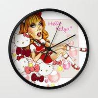 rupaul Wall Clocks featuring Hello Katya by tomatosita