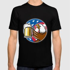 Bald Eagle Hoisting Beer Stein USA Flag Circle Retro Mens Fitted Tee Black LARGE