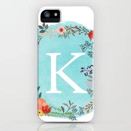 Personalized Monogram Initial Letter K Blue Watercolor Flower Wreath Artwork iPhone Case