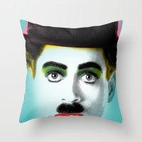 charlie chaplin Throw Pillows featuring charlie chaplin by mark ashkenazi