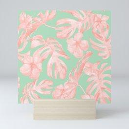 Tropical Palm Leaves Hibiscus Pink Mint Green Mini Art Print