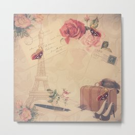 Vintage Parisian Collage Metal Print