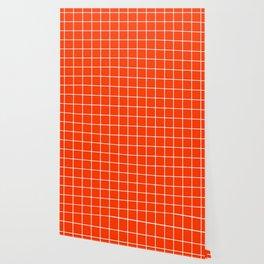 Coquelicot - orange color - White Lines Grid Pattern Wallpaper