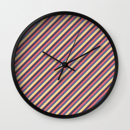 Summer Bright Colors Inclined Stripes Wall Clock