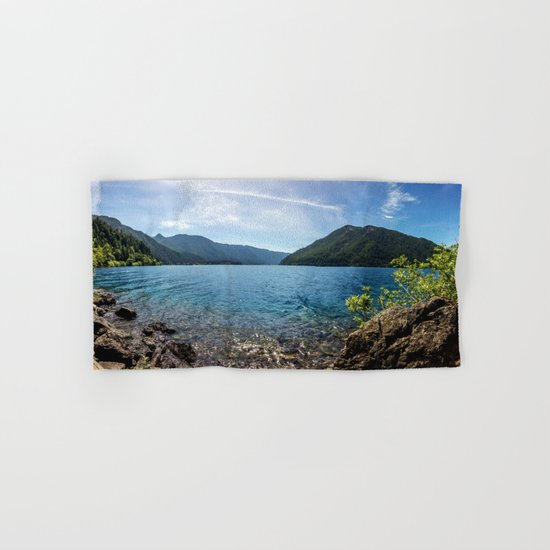 Lake Crescent Olympic Mountain Pano Hand & Bath Towel