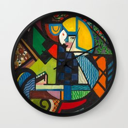Daughter in a Rocker, H. Lyman Sayen, 1918 Abstract Painting Wall Clock