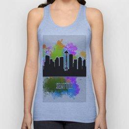 Seattle skyline silhouette Unisex Tank Top