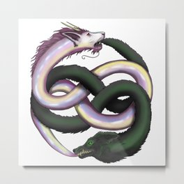 Wolf and Dragon Metal Print