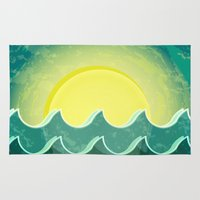 notebook Area & Throw Rugs featuring Sun and sea by Katherine Paulin