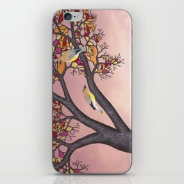 cedar waxwings on the stained glass tree iPhone Skin