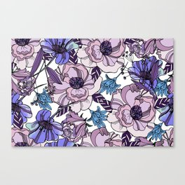 Cute beautiful floral seamless pattern. Ultraviolet roses, violas and meadow flowers. Canvas Print