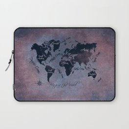 world map 141 red blue #worldmap #map Laptop Sleeve