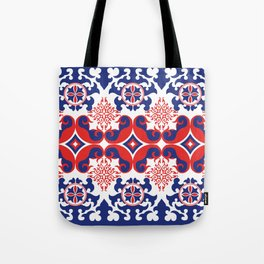 Asian red and blue pattern Tote Bag