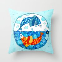 pisces Throw Pillows featuring Pisces by Sandra Nascimento