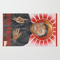 korea Area & Throw Rugs featuring Religion in North Korea by kaliwallace