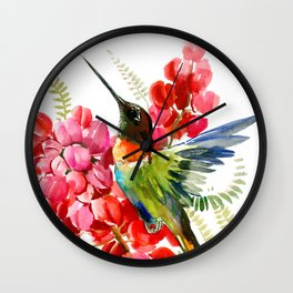 Collared Inca Hummingbird and Coral Pink Flowers Wall Clock