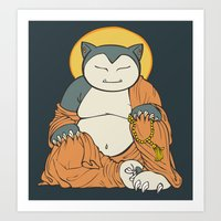 snorlax Art Prints featuring Hotei Snorlax by Mallory Hodgkin