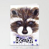 raccoon Stationery Cards featuring Raccoon by Iskoskikh Sveta