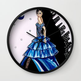 MIDNIGHT IN MANHATTAN FASHION ILLUSTRATION BY JAMES THOMAS RYAN Wall Clock