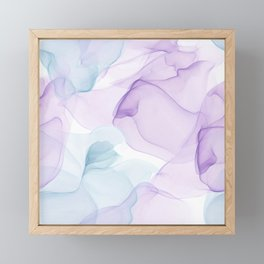 Purple Blush and Blue Flowing Abstract Painting Framed Mini Art Print