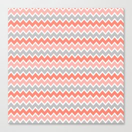 Coral Orange and Peach and Gray Grey Chevron Canvas Print