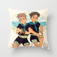 snk Throw Pillows featuring at the beach by JohannaTheMad