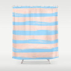 Trendy Stripes - Sweet Peach Coral on Blue Raspberry Shower Curtain