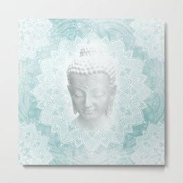 Tibetan Dream Blue White Buddha Mandala Metal Print