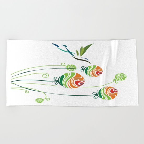 Hummingbird And Flowers Beach Towel