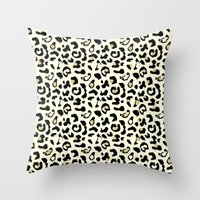 leopard Throw Pillows featuring Leopard by Laura Maria Designs