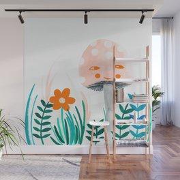 pink mushroom with botanical illustration Wall Mural