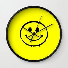 smiley face rave music logo Wall Clock