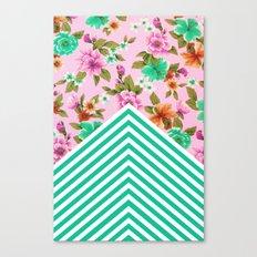 Tropical Floral Chevron Canvas Print