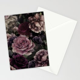 Roses In Burgundy And Pink Vintage Botanical Garden Flowers Stationery Cards